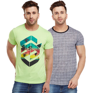 Vimal-Jonney Check Grey And Green Graphic Printed Tshirts For Men(Pack Of 2)
