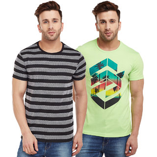 Vimal-Jonney Striped Black And Green Graphic Printed Tshirts For Men(Pack Of 2)