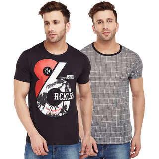 Vimal-Jonney Check Black And Black Graphic Printed Tshirts For Men(Pack Of 2)