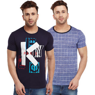 Vimal-Jonney Navy Blue Graphic And Check Blue Printed Tshirts For Men(Pack Of 2)