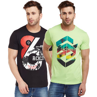 Vimal-Jonney Green And Black Graphic Printed Printed Tshirts For Men(Pack Of 2)