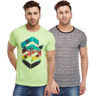 Vimal-Jonney Check Black And Green Graphic  Printed Tshirts For Men(Pack Of 2)