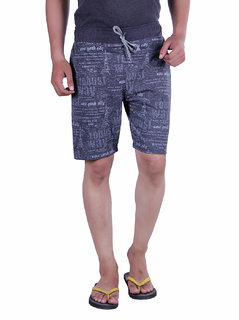 LivFit Casual Dark Grey Printed Cotton Short