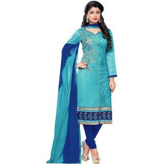 DnVeens Women Chanderi Santoon Embroidered Unstiched Suit Salwar Kameez Dress Material With Dupatta BLGFBLBL710008