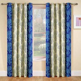 Designer Blue Color Eyelet Polyester Curtain Window Length (Set of 5 Pcs) 60