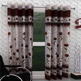 Designer Brown Color Eyelet Polyester Curtain Long Door Length (Set of 4 Pcs) 108