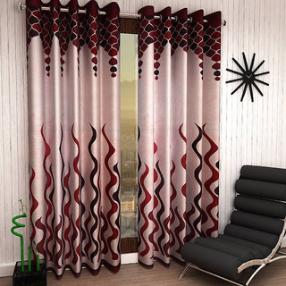 Designer Maroon Color Eyelet Polyester Curtain Door Length (Set of 2 Pcs) 84