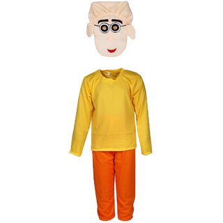 Raj Costume Polyester Patlu Cartoon Fancy Dress For Kids