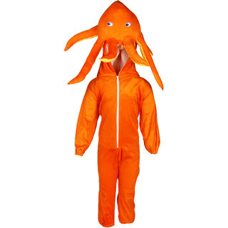 Raj Costume Polyester Orange Octopus Water Animal Costume For Kids