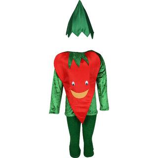 Raj Costume Polyester Red Chilli Vegetables Fancy Dress For Kids