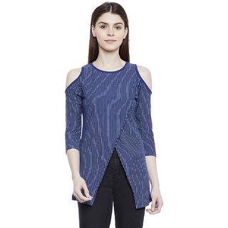 Hypernation Striped Women's Overlap Cold Shoulder T-shirt