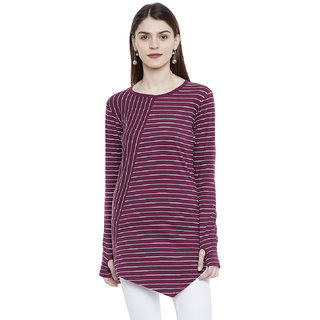 Hypernation Striped Women's Thumb Insert Asymmetrical T-shirt
