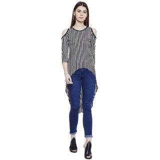 1a3913865fbc4 Buy Hypernation Striped Women s Cold Shoulder Asymmetrical T-shirt Online -  Get 29% Off