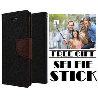 Vinnx Flip Cover For Oppo A57 Mercury Case  With Free Selfie Stick