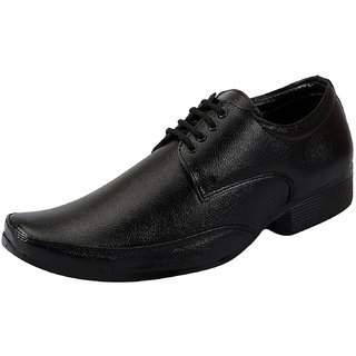 Lakhani Black Leather Shoes with Lace