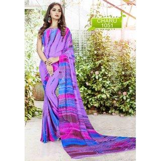 Meia Purple Georgette Self Design Saree With Blouse