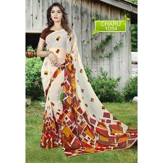 Meia Cream Georgette Self Design Saree With Blouse