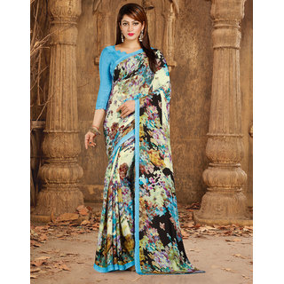 Meia Blue Crepe Self Design Saree With Blouse