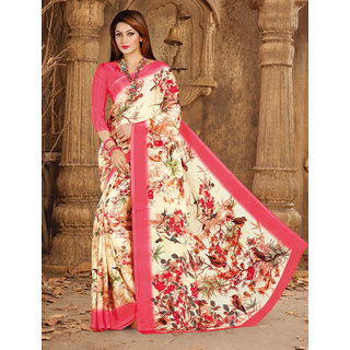 Meia Pink Crepe Self Design Saree With Blouse
