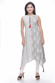 Assymetrical cotton fusion printed mixmatch cold grey kurti by Navrachna