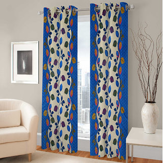 Gharshingar Primium Blue Abstract Polyester Set of 4 Curtains