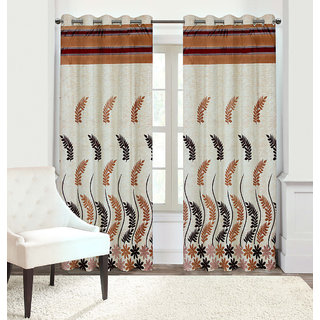 Gharshingar Primium Brown Abstract Polyester Set of 4 Curtains