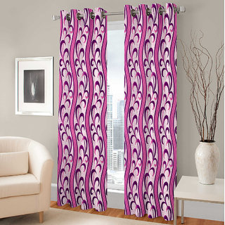 Gharshingar Primium Pink Abstract Polyester Set of 2 Curtains