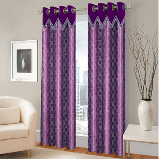 Gharshingar Primium Purple Abstract Polyester Set of 2 Curtains
