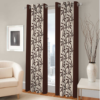 Gharshingar Primium Brown Abstract Polyester Set of 2 Curtains