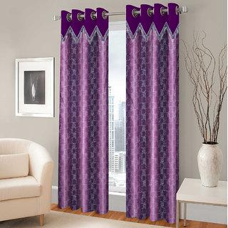 Gharshingar Primium Purple Abstract Polyester Set of 8 Curtains