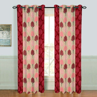 Gharshingar Primium Red Abstract Polyester Single Curtains