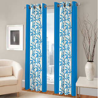 Gharshingar Primium Blue Abstract Polyester Set of 8 Curtains
