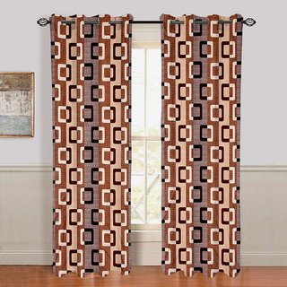 Gharshingar Primium Brown Abstract Polyester Set of 6 Curtains