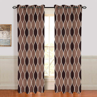 Gharshingar Primium Brown Abstract Polyester Set of 10 Curtains