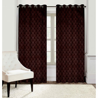 Gharshingar Primium Brown Abstract Polyester Set of 5 Curtains