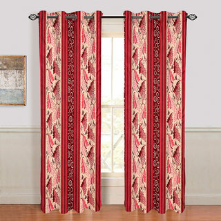 Gharshingar Primium Red Abstract Polyester Set of 2 Curtains