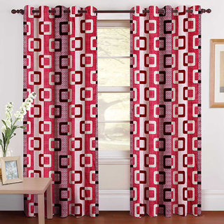 Gharshingar Primium Pink Abstract Polyester Set of 8 Curtains