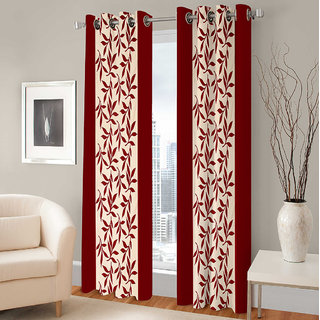 Gharshingar Primium Maroon Abstract Polyester Set of 10 Curtains