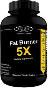 Sinew Nutrition Natural Fat Burner 5X (Green Tea, L-Carnitine, CLA, Green Coffee, Garcinia Cambogia Extract) 60 Veg caps