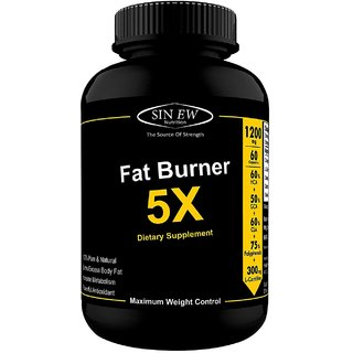 Sinew Nutrition Natural Fat Burner 5X (Green Tea, L-Carnitine, CLA, Green Coffee, Garcinia Cambogia Extract) 60 Veg caps