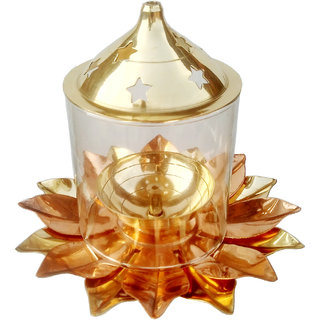 Decorate India Brass copper Kamal Patti Akhand diya with molded glass 5 inch Copper, Brass Table Diya (Height 5inch)