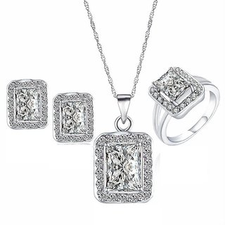 RM Jewellers 92.5 Sterling Silver American Diamond Fabulous Pendant Set For Women ( RMJPS88837 )