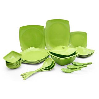 Melamine Czar New Square Dinner Set 32 PIC-GREEN