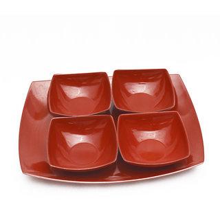 CZAR Melamine Czar New 4 veg bowl (800 ML) with Tray-RED