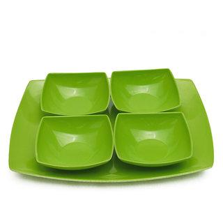 Melamine Czar New 4 veg bowl with Tray-GREEN