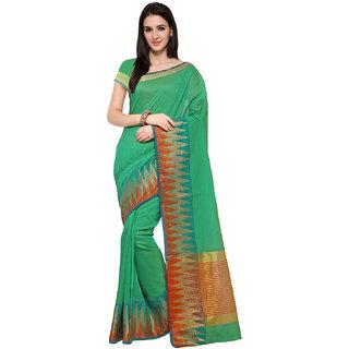 Ajira New Turquoise Colour Self Design Solid Poly Cotton Banarasi Saree GAURI CRECAL BORDER R GREEN