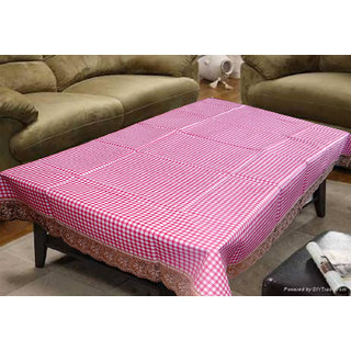 Handloom Zone Pink Checkered Center Table Cover (40x60 Inches)
