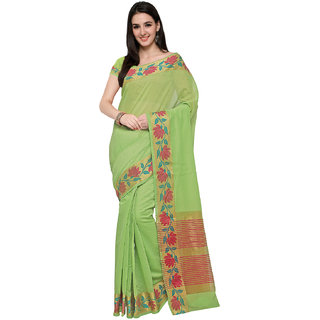 Ajira New Light Green Colour Self Design Solid Poly Cotton Banarasi Saree GAURI FLOWER BORDER P GREEN