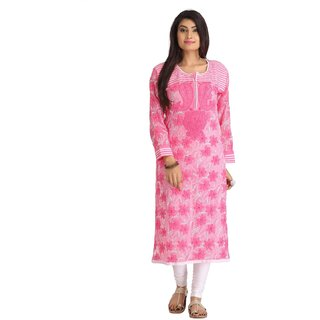 d779b42622c Ada Lucknow Chikan Hand Embroidered Pink Faux Georgette Kurti - A136143