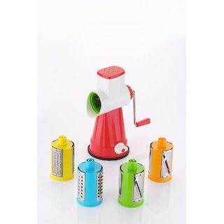 Hardik Multi-Functional 4 in 1 Vegetable Fruit Cutter Slicer Cheese Shredder Speedy Rotary Drum Grater Slicer Red